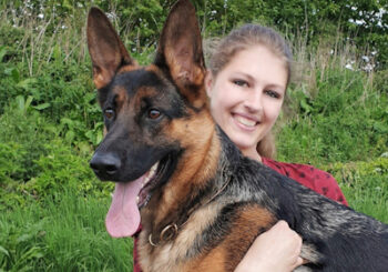 Grace Briggs and Karma, the German Shepherd