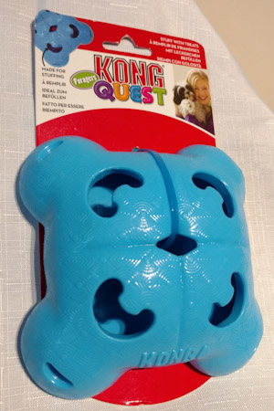Blue plastic rectangular treat dispenser