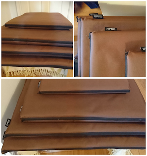 A collage of three photos showing all four sizes of the brown waterproof dog craft mats